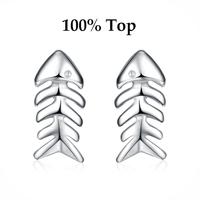 Min Order 9$ (mix)! Elegant CZ Crystal Cute Fish Bone Stud Earrings Jewelry for Women/Girls