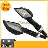 Black 15 LED Skull Hand Finger Turning Light Indicator Signals Chrome for Motorcycle