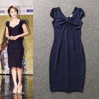 High Quality New Korean Fashion 2014 Autumn Spring Sexy V-Neck Cape Sleeve Dark Blue Bodycon Sheath Dress Cotton Slim Fit Dress
