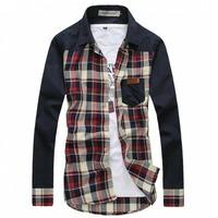 Free Shipping Rsan Men's Long Sleeve Plaids Button Up Casual Shirt