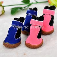 Fashion Winter Pet Boots Casual Soft Cotton Pink Blue Dog Shoes 4pcs/set Free Shipping