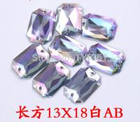 500pcs 13*18mm  Rectangular AB Rhinestone Double Hole Flat back For Sewing  Wedding Dress Shoes Craft Diy