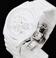 good quality 100% ceramic chronograph  quartz battery AR couple pair lover wrist watch christmas free shipping