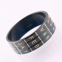 Wholesale/Retail 316L Stainless Steel Black Lettering Digital Ring For Men Unisex Free Shipping Size 7 8 9 10 11 JS0012