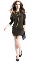 2014 new Autumn Winter women dress knitted batwing sleeve o-neck slim mini dress women casual dress S-XXXL plus size dress
