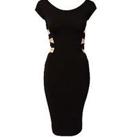 2014 NEW fashion Women Sexy Knee Length Black Bodycon Bandage Dress Celebrity Casual Dress