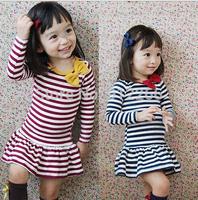 2015 new kids clothing Striped bow Girl Dress Korean girls long sleeved cotton princess dress,14NOV55