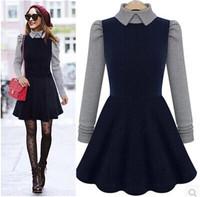 2014 new Winter Autumn vestidos long sleeve turn-down collar pathwork women casual dress lady high waist slim A-line dress