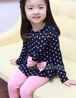 New Little Girls' Sweet Bowknot Polka DotS Long Shirts & Leggings 2 Pcs Sets Pink & Blue Casual Baby kids Clothing Sets1-7Y