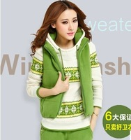2014 autumn and winter plus size clothing casual set plus velvet thickening sweatshirt sportswear piece set with a hood