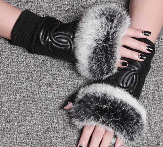 New 2015 Christmas Gift Top Famous Brand Genuine sheepskin leather fingerless gloves winter semi-finger gloves for women(China (Mainland))