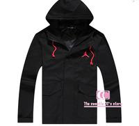Hip Hop Long Sleeve With a Hood Travelling Sports Outdoor Jackets / Fashion 23 Print Zipper Men Outerwear Black Coat S-XXL