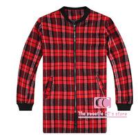 Hip Hop Vintage Red Plaid Slim Men Jackets / Spring and Autumn Fashion Coat O-neck Zipper Men Outerwear M-XL
