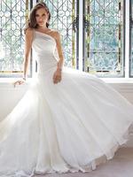 SW38 Free Shipping 2014 Bridal Gowns casamento Sexy One Shoulder Pleated Long Chiffon White Wedding Dress Vestidos de Noiva