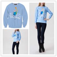 Adventure Time Get Ready Your Dog Women's Hoodies Sweatshirts Hipster CrewNeck Pullover Outerwears