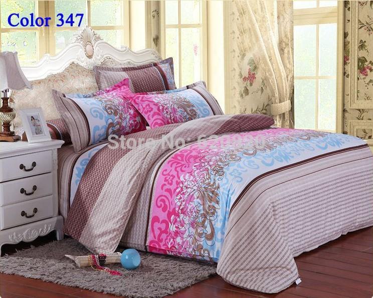 Luxury Fashion Bedding set Bedclothes bedspread bed set bedlinen brown flower Bedding Set Diamond Velvet Duvet cover Color 347(China (Mainland))