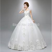 wedding dress Lace shoulders diamond luxury neat, back strap design set auger new organza wedding gown