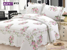 BS15 #13  Free Shipping by DHL New 3 PC Quilt Bedspread Blanket Cover Rose Flower Romantic Floral Design Queen, King Size(China (Mainland))