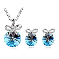 Necklace+Earring,Wholesale White Gold Plated Austrian Crystal fashion Jewelry Sets 2014111308