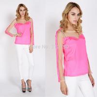 Freeshipping New 2014 women blouses lace patchwork casual shirts chiffon blusas femininas S-XL gift