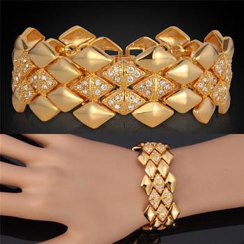 Браслеты большой коренастый горячий для мужчин \ женщин 18 К настоящее позолоченные браслеты горный хрусталь кристалл ювелирного высокое качество марка MGC H5142