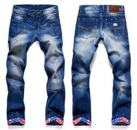Fashion denim men jeans USA Flag straight jeans for men casual brand pants