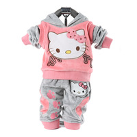 Hello Kitty 2014 Baby Clothing,Velvet Material Baby suit, jacket + pants all for children clothing and accessories