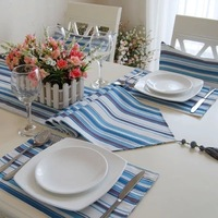 (30*180cm,30*200cm)New woven 100% cotton Mediterranean Blue-striped Table Runner/Flag Home Decoration Hotel Series Customize