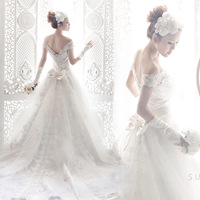 Bride wedding winter 2014 Korean Qi tail wedding stomacher a word shoulder Princess tailing to send eight piece