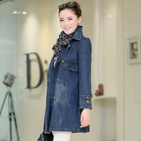 2014 Autumn Fashion Jeans Trench Women Lady Classic Jeans Coat M L XL XXL