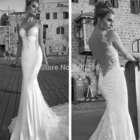 Galia Lahav 2015 Spring Bridal Gowns Elegant Spaghetti Lace Applique Mermaid Long Sexy Backless Formal Wedding Dresses