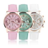1pcs High Quality Women's Geneva Roman Numerals Faux Leather Analog Quartz Wrist Watch