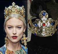 The baroque runway looks cross hollow crown hair hoop palace restoring ancient ways hair band,hair accessories