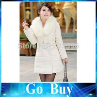 Free shipping YF0804 women winter jacket Raccoon Fur Collar Double-breasted Bow belt Slim Hooded coat Women duck down jacket