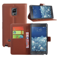 New Folio Flip Stand With 3 Card Slots Wallet Litchi Leather Cover Cell Phone Case For Samsung Galaxy Note Edge Brown,Free Ship