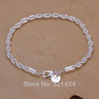 Unisex 8 inches Fashion womens mens men women Jewelry 925 sterling Silver Bracelet Chain Link Bracelets Bangles gift box KL207