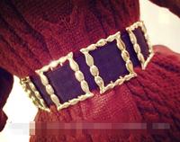European style golden geometric frame large buckle elastic belt,belts for women,mens belts luxury,belts for men
