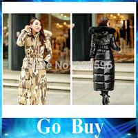 Free shipping YF0803 camouflage heavy hair fashion brought women winter jacket longer upset down jacket coat