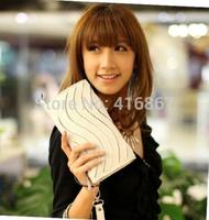 2014 fashion Casual Wallet totes long Zipper Purse handbag Premium PU leather hand Clutch Wallets Purses for women bag black red
