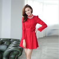 South Korea's small sweet sweet wind set auger long-sleeved dress fashion show thin render dress