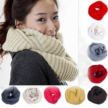 2014 Fashion Men Women Winter Warm Infinity 2 Circle Cable Knit Cowl Neck Long Scarf Shawl