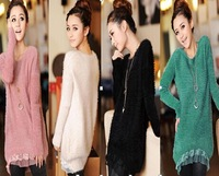 2014 new Korean women loose coat lace knit sweater bottoming female