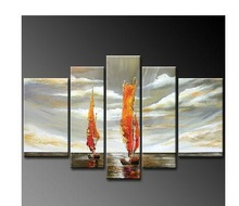 2014  fashion5033 handmade 5 piece modern abstract oil painting on canvas wall art seascape sail boats picture for home decora u(China (Mainland))