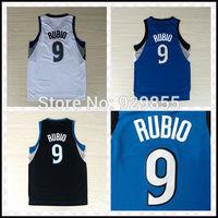 Fast Free Shipping, New Meterial Rev 30 Embroidery Basketball Jerseys #9 Ricky Rubio Jerseys
