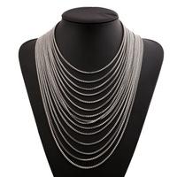 Retro multi tassel sweater chain bone chain gold silver metal necklace