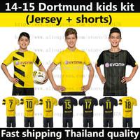 Thai Quality new 14 15 Borussia Dortmund kids soccer jersey kit yellow black 2015 REUS KAGAWA HUMMEL youth football shirt