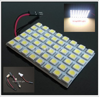 Free shipping 5pcs 48 SMD 5050 LED reading dome Panel Car interior lighting auto white Light with 3 Defferent Adapters