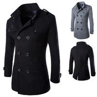 Hot sale free shipping men winter woolen coat double-breasted overcoat outwear winter casual jackets 2 colors CY014
