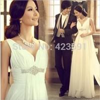 2014 New Fashion Royal Luxury Rhinestone Sexy Deep V-neck Bride Short Trailing Column Wedding Dress D141