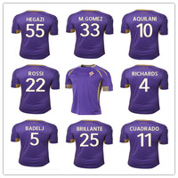 Tip A+++ camisa Fiorentina 2014 2015 home purple soccer jersey GOMEZ AQUILANI custom name and number SOCCER SHIRTS